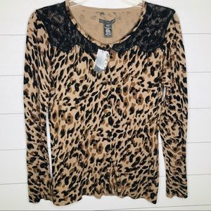 NWT Covington Leopard and Lace Soft Cardigan M
